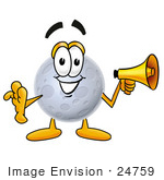 #24759 Clip Art Graphic Of A Full Moon Cartoon Character Holding A Megaphone