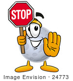#24773 Clip Art Graphic Of A Full Moon Cartoon Character Holding A Stop Sign