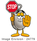 #24779 Clip Art Graphic of a Wired Computer Mouse Cartoon Character Holding a Stop Sign by toons4biz