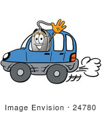 #24780 Clip Art Graphic Of A Wired Computer Mouse Cartoon Character Driving A Blue Car And Waving