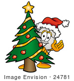 #24781 Clip Art Graphic Of A Wired Computer Mouse Cartoon Character Waving And Standing By A Decorated Christmas Tree