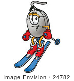 #24782 Clip Art Graphic Of A Wired Computer Mouse Cartoon Character Skiing Downhill