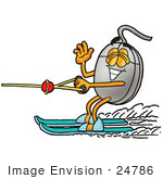 #24786 Clip Art Graphic Of A Wired Computer Mouse Cartoon Character Waving While Water Skiing
