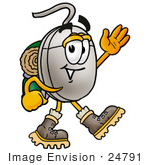#24791 Clip Art Graphic Of A Wired Computer Mouse Cartoon Character Hiking And Carrying A Backpack