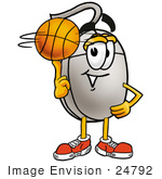 #24792 Clip Art Graphic Of A Wired Computer Mouse Cartoon Character Spinning A Basketball On His Finger
