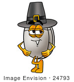 #24793 Clip Art Graphic Of A Wired Computer Mouse Cartoon Character Wearing A Pilgrim Hat On Thanksgiving