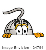 #24794 Clip Art Graphic of a Wired Computer Mouse Cartoon Character Peeking Over a Surface by toons4biz