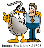#24796 Clip Art Graphic Of A Wired Computer Mouse Cartoon Character Talking To A Business Man