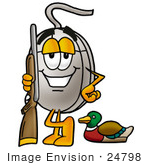 #24798 Clip Art Graphic Of A Wired Computer Mouse Cartoon Character Duck Hunting Standing With A Rifle And Duck
