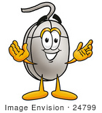 #24799 Clip Art Graphic Of A Wired Computer Mouse Cartoon Character With Welcoming Open Arms