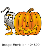 #24800 Clip Art Graphic Of A Wired Computer Mouse Cartoon Character With A Carved Halloween Pumpkin