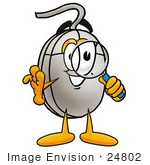 #24802 Clip Art Graphic of a Wired Computer Mouse Cartoon Character Looking Through a Magnifying Glass by toons4biz