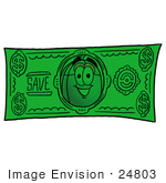 #24803 Clip Art Graphic Of A Wired Computer Mouse Cartoon Character On A Dollar Bill