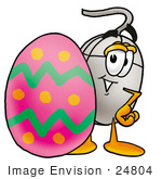 #24804 Clip Art Graphic Of A Wired Computer Mouse Cartoon Character Standing Beside An Easter Egg