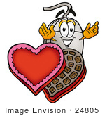 #24805 Clip Art Graphic Of A Wired Computer Mouse Cartoon Character With An Open Box Of Valentines Day Chocolate Candies