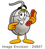 #24807 Clip Art Graphic Of A Wired Computer Mouse Cartoon Character Holding A Telephone