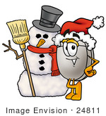 #24811 Clip Art Graphic Of A Wired Computer Mouse Cartoon Character With A Snowman On Christmas