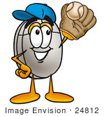 #24812 Clip Art Graphic Of A Wired Computer Mouse Cartoon Character Catching A Baseball With A Glove