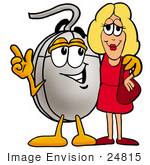 #24815 Clip Art Graphic Of A Wired Computer Mouse Cartoon Character Talking To A Pretty Blond Woman