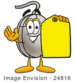 #24816 Clip Art Graphic Of A Wired Computer Mouse Cartoon Character Holding A Yellow Sales Price Tag