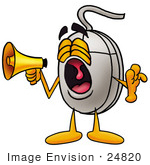 #24820 Clip Art Graphic Of A Wired Computer Mouse Cartoon Character Screaming Into A Megaphone