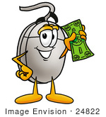 #24822 Clip Art Graphic Of A Wired Computer Mouse Cartoon Character Holding A Dollar Bill