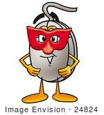 #24824 Clip Art Graphic Of A Wired Computer Mouse Cartoon Character Wearing A Red Mask Over His Face
