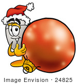 #24825 Clip Art Graphic Of A Wired Computer Mouse Cartoon Character Wearing A Santa Hat Standing With A Christmas Bauble