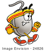 #24826 Clip Art Graphic Of A Wired Computer Mouse Cartoon Character Speed Walking Or Jogging