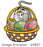 #24827 Clip Art Graphic Of A Wired Computer Mouse Cartoon Character In An Easter Basket Full Of Decorated Easter Eggs