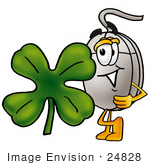 #24828 Clip Art Graphic Of A Wired Computer Mouse Cartoon Character With A Green Four Leaf Clover On St Paddy'S Or St Patricks Day