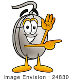 #24830 Clip Art Graphic Of A Wired Computer Mouse Cartoon Character Waving And Pointing