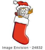 #24832 Clip Art Graphic Of A Wired Computer Mouse Cartoon Character Wearing A Santa Hat Inside A Red Christmas Stocking
