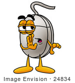 #24834 Clip Art Graphic Of A Wired Computer Mouse Cartoon Character Whispering And Gossiping