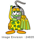 #24835 Clip Art Graphic Of A Wired Computer Mouse Cartoon Character In Green And Yellow Snorkel Gear