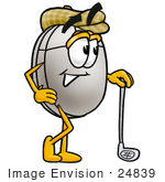 #24839 Clip Art Graphic Of A Wired Computer Mouse Cartoon Character Leaning On A Golf Club While Golfing