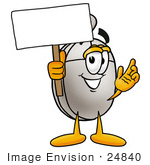 #24840 Clip Art Graphic Of A Wired Computer Mouse Cartoon Character Holding A Blank Sign