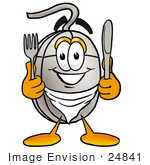 #24841 Clip Art Graphic Of A Wired Computer Mouse Cartoon Character Holding A Knife And Fork