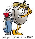 #24842 Clip Art Graphic Of A Wired Computer Mouse Cartoon Character Swinging His Golf Club While Golfing