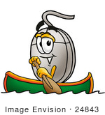 #24843 Clip Art Graphic Of A Wired Computer Mouse Cartoon Character Rowing A Boat