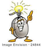 #24844 Clip Art Graphic Of A Wired Computer Mouse Cartoon Character With A Bright Idea