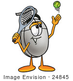 #24845 Clip Art Graphic Of A Wired Computer Mouse Cartoon Character Preparing To Hit A Tennis Ball