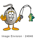#24846 Clip Art Graphic Of A Wired Computer Mouse Cartoon Character Holding A Fish On A Fishing Pole