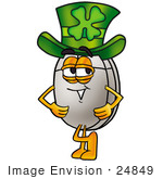 #24849 Clip Art Graphic Of A Wired Computer Mouse Cartoon Character Wearing A Saint Patricks Day Hat With A Clover On It