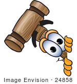#24858 Clip Art Graphic Of A Wooden Mallet Cartoon Character Peeking Around A Corner