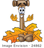 #24862 Clip Art Graphic Of A Wooden Mallet Cartoon Character With Autumn Leaves And Acorns In The Fall