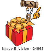 #24863 Clip Art Graphic Of A Wooden Mallet Cartoon Character Standing By A Christmas Present