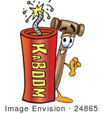 #24865 Clip Art Graphic Of A Wooden Mallet Cartoon Character Standing With A Lit Stick Of Dynamite