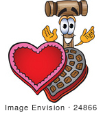 #24866 Clip Art Graphic Of A Wooden Mallet Cartoon Character With An Open Box Of Valentines Day Chocolate Candies