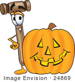 #24869 Clip Art Graphic Of A Wooden Mallet Cartoon Character With A Carved Halloween Pumpkin
